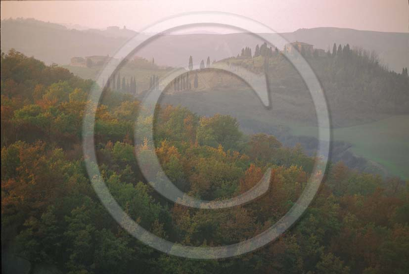 1991 - Landscapes in early morning with fog in autumn in Orcia valley