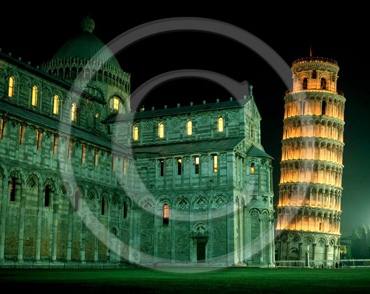 2001 - Night view of cathedral of Pisa town and the leaning tower in the square of Miracle.