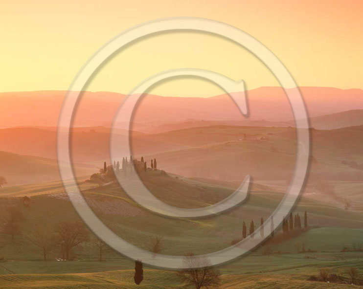2000 - Landscapes of farm and cipress on sunrise in spring, near S.Quirico village, Orcia valley, 15 miles south province of Siena.