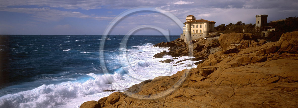 2005 - Panoramic view of Tirreno sea in summer, Calafuria place, Etruria coast, 8 miles south the province of Leghorn.