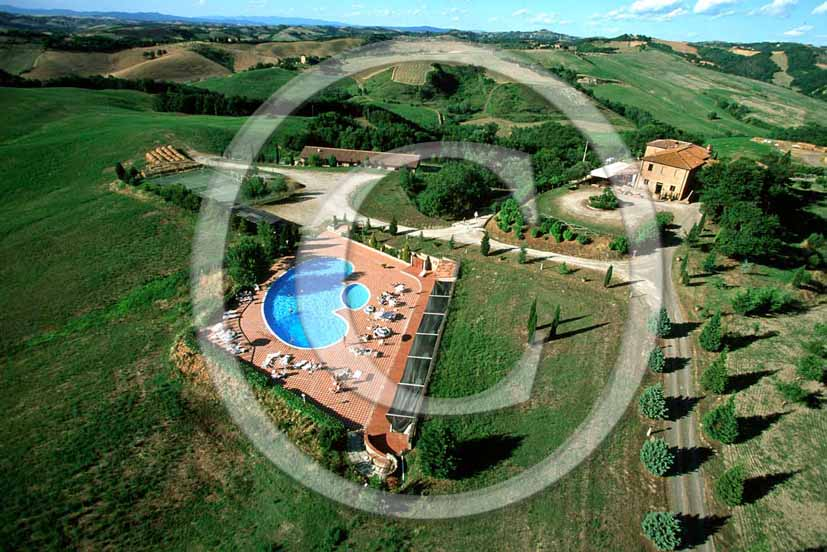 2001 - Aerial view of holidays farm, Crete Senesi land, near Buonconvento village, 18 miles south the province of Siena.