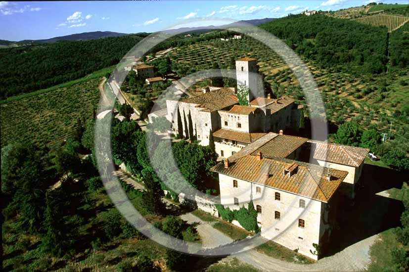 2001 - Aerial view of S.Polo in Rosso farm, Chianti land, 22 miles south the province of Florence.