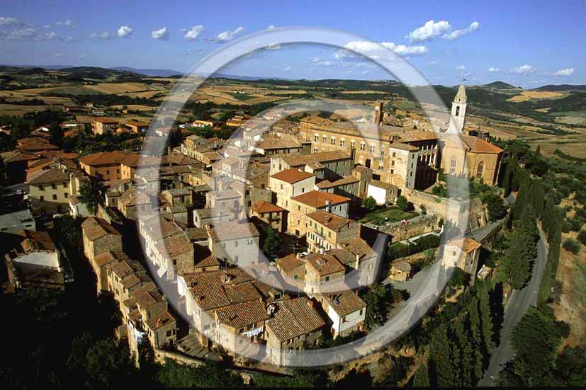 2001 - Aerial view of Pienza medieval village, Crete Senesi land, 28 miles south the province e of Siena.