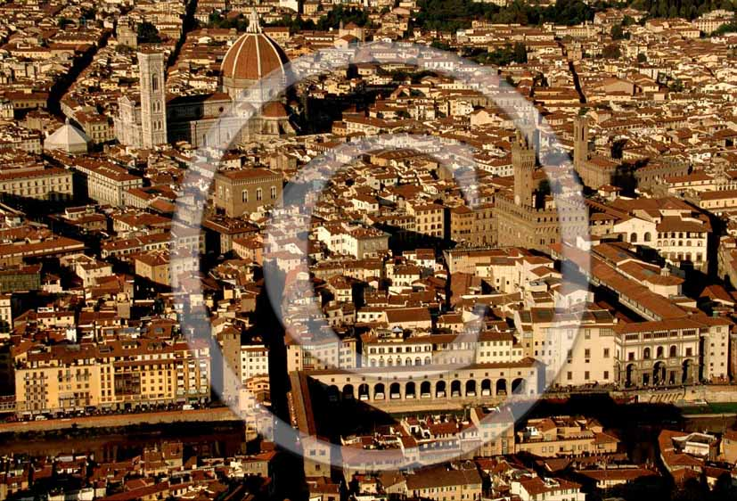 2000 - Aerial view of Florence, the Arno river and the cathedral of Brunelleschi.