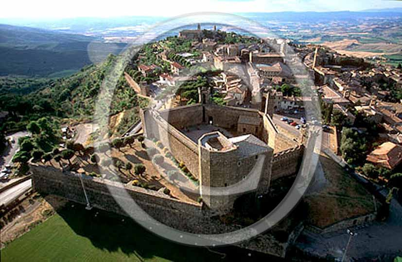 2001 - Aerial view of the fortress of Montalcino medieval village.