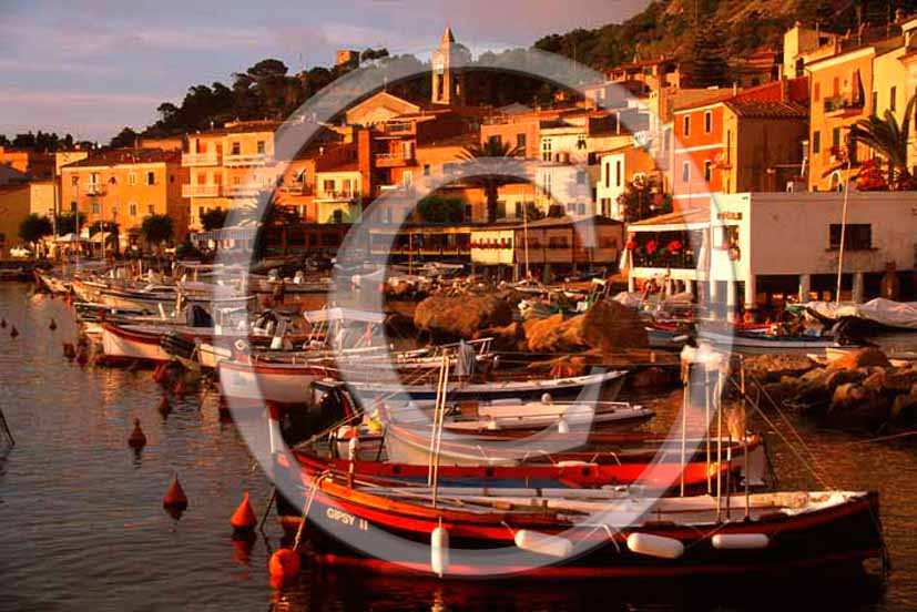 2004 - View of Isle of Giglio, port and boats in early morning, Tirreno sea, Maremma land, 80 miles south the province of Grosseto.