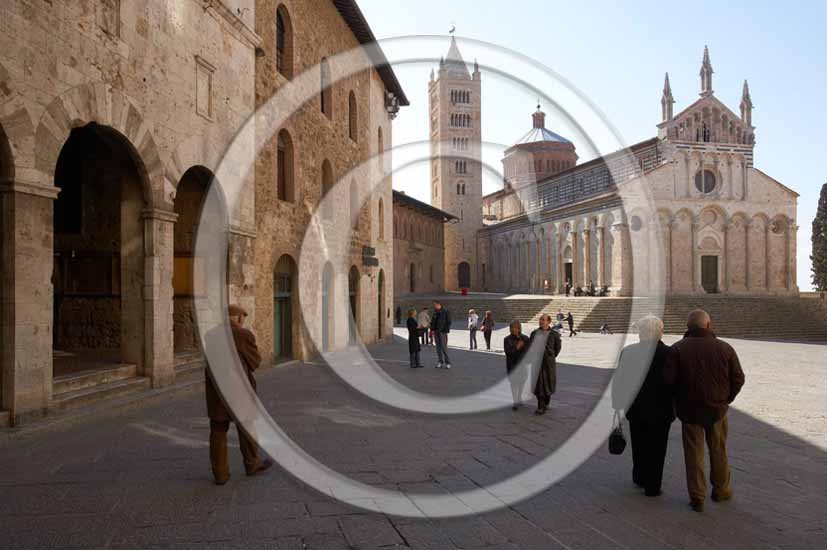 2005 - View of the main square and the cathedral of Massa Marittima village, Metallifere Valley, 30 miles north est the province of Grosseto.