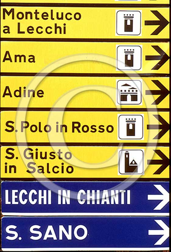 1988 - Road sign in Chianti land.