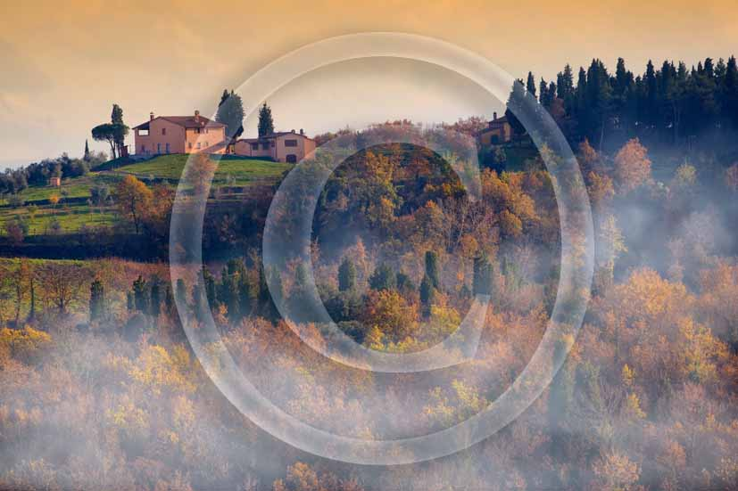 2006 - Landscapes and farm in winter with fog on early morning, Castelnuovo place, near S.Miniato medieval village, Era valley, 15 miles south the province of Florence.