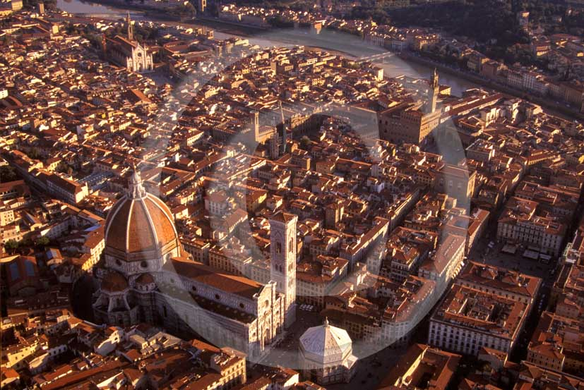 1998 - Aerial view of the town of Firenze on late afternoon.