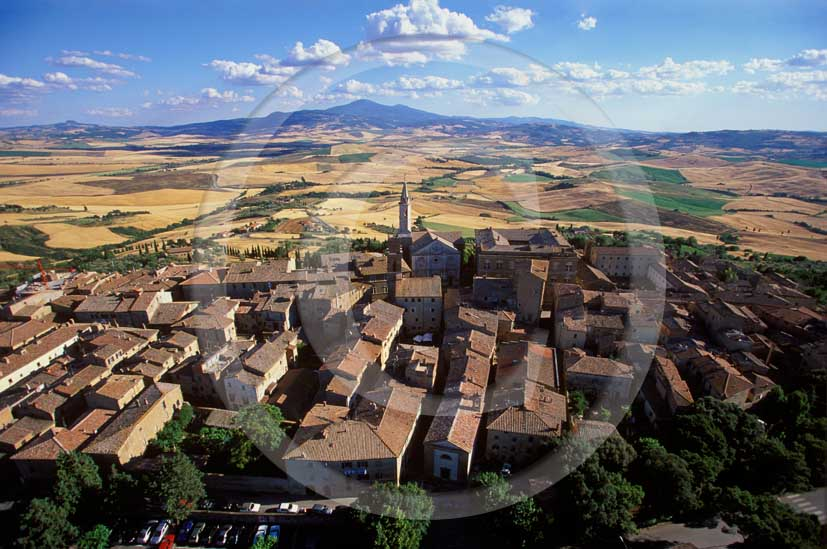 2000 - Aerial view of the Pienza medieval village, Orcia valley, 21 miles south the province of Siena.