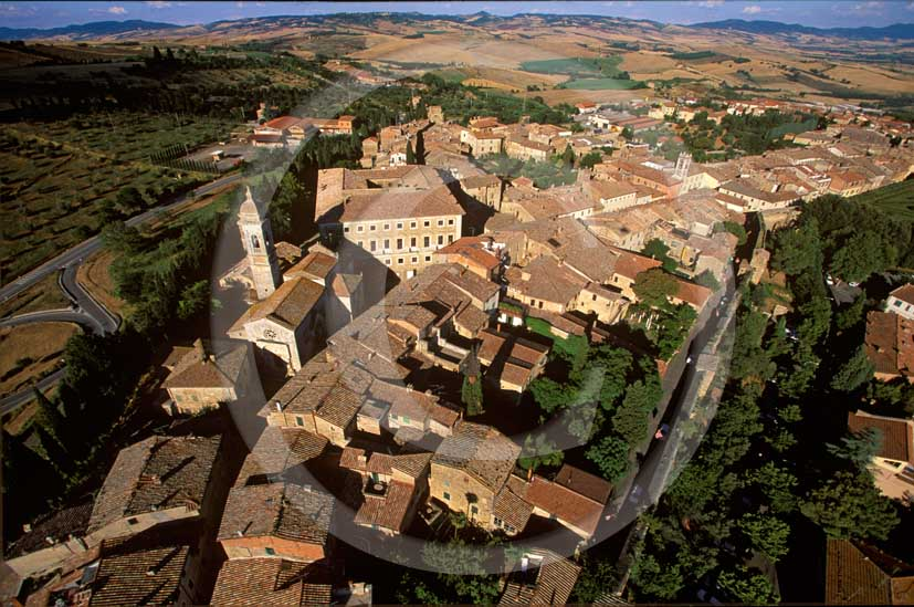 1998 - Aerial view of S. Quirico d' Orcia medieval village, Orcia valley, 01 miles south the province of Siena.