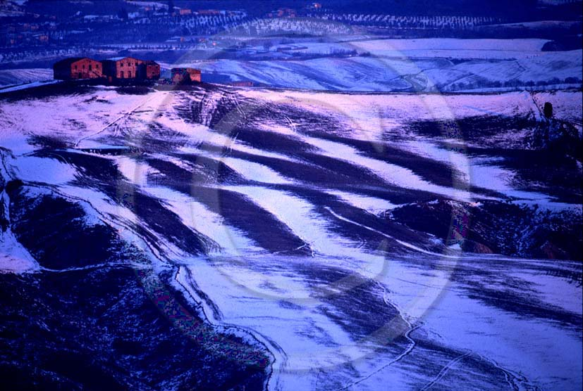 2000 - Landscapes of farm with snow on sunrise in winter, near Mucigliani place, Crete Senesi land, 13 miles south province of Siena.