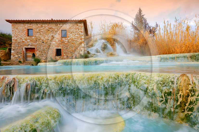 2012 - View of the natural Thermes of Saturnia in Maremma land.