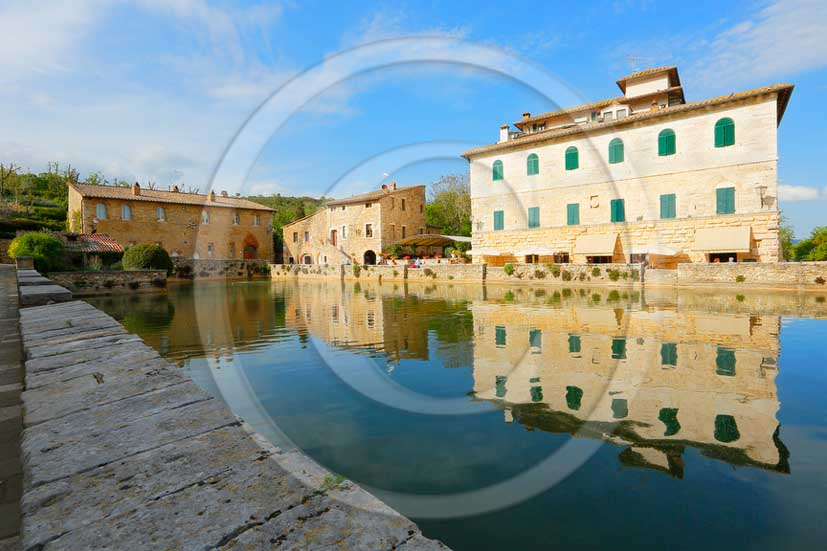 2012 - View of the main square of thermal water of Bagno Vignoni village in Orcia valley.