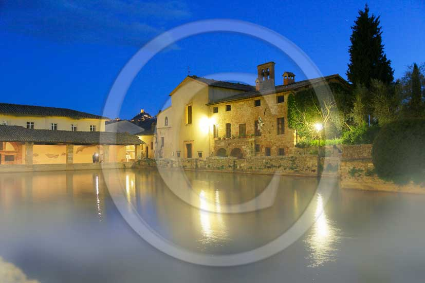 2012 - Night view of the main square of thermal water of Bagno Vignoni village in Orcia valley.