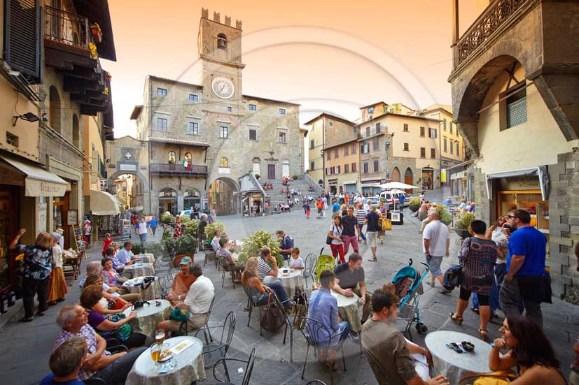 2013 - View of the main square of Cortona village in Valdichiana valley.