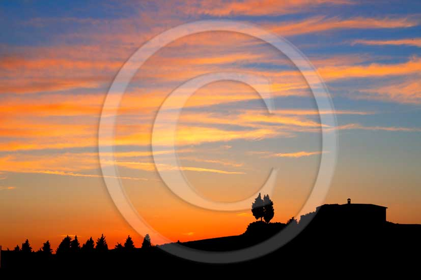 2013 - View on sunset of tuscan farm and cypress skyline in Orcia valley.