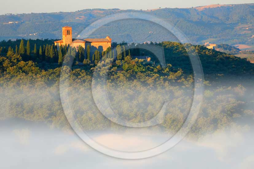 2013 - View at sunrise with fog of Orcia valley with Saint Anna in Camprena Monasty near Castelmuzio village.