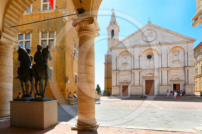 2013 - View of the main square of Pienza village with the Cathedral in Orcia valley.