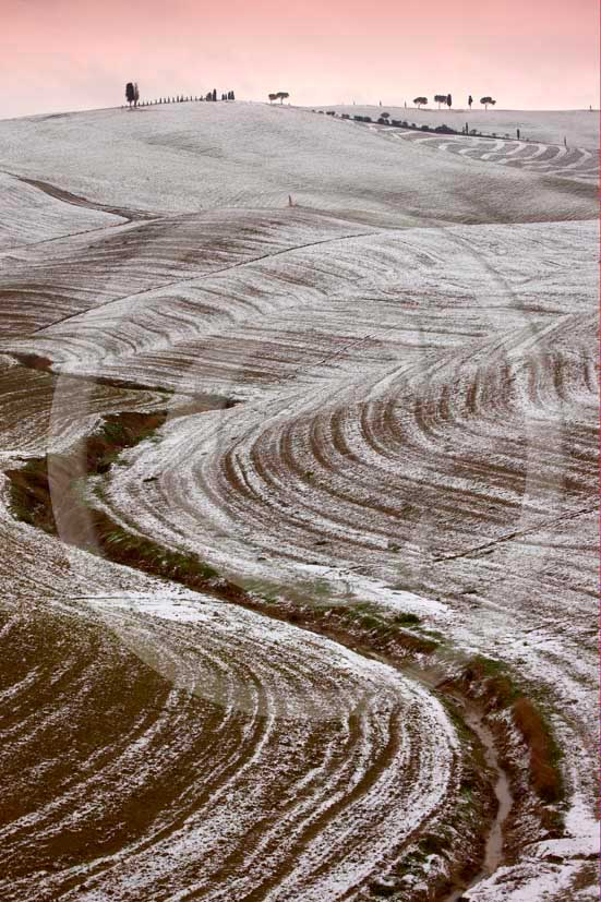 2009 - Landscapes of plowed field with snow in winter on
