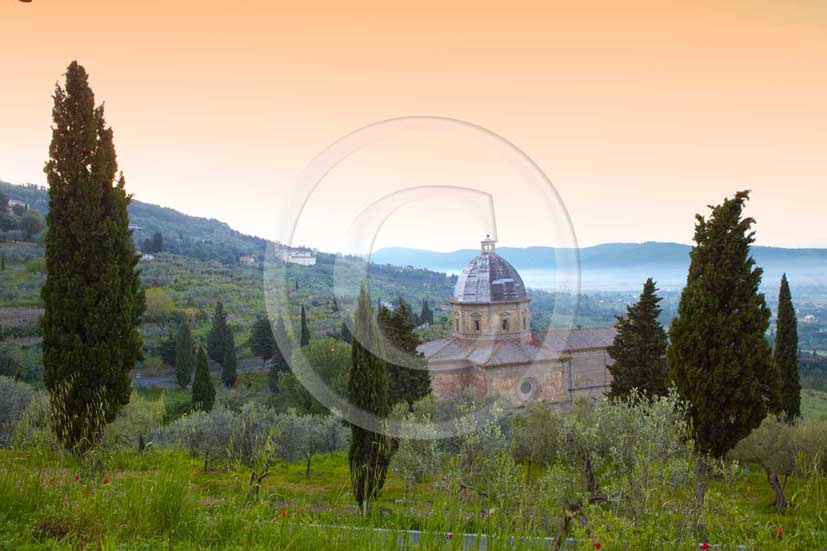 2009 - Landscapes with S.Maria delle Grazie church between cypress on sunrise, near Cortona medieval village , Val di Chiana valley, 21 miles east Arezzo province.