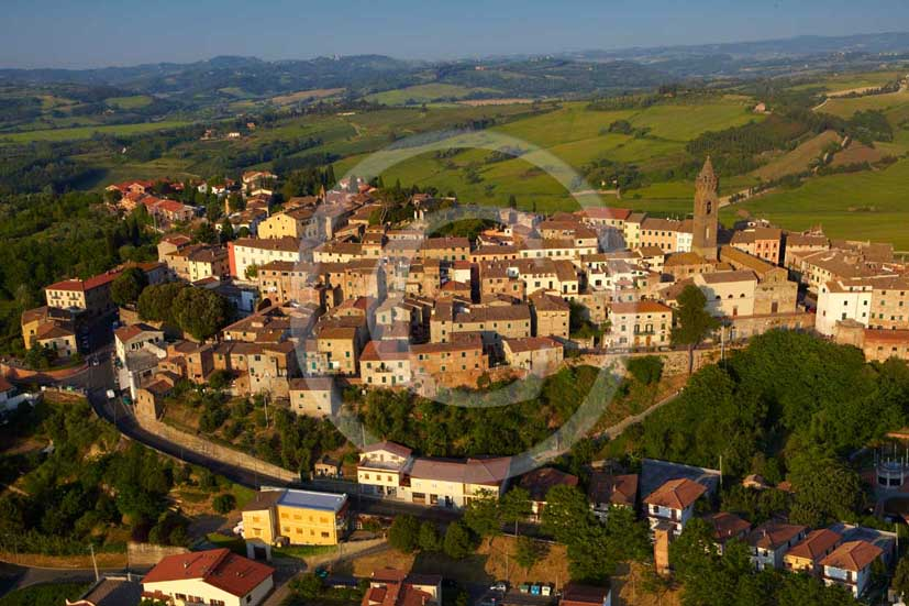 2009 - Aerial view of Peccioli medieval village, near Pisa town, Era valley, 16 miles south east Pisa province.