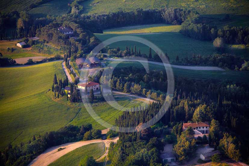 2009 - Aerial view of landscapes with farm and cypress line on late