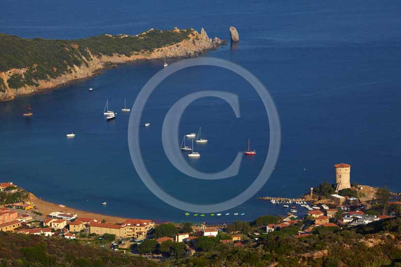 2009 - View of the coast of Campese beach of Isle of Giglio on summer, Maremma land, 80 miles south the province of Grosseto.