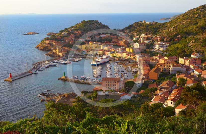 2009 - View of the port of Isle of Giglio in early morning on summer, Maremma land, 80 miles south the province of Grosseto.