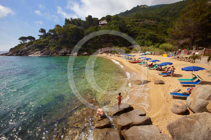2009 - View of the coast of Caldane beach of Isle of Giglio on summer, Maremma land, 80 miles south the province of Grosseto.