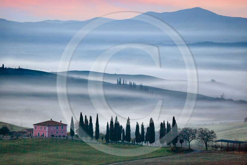 2009 - Landscapes of farm and cipress line with fog on sunrise in winter, near S.Quirico village, Orcia valley, 23 miles south province of Siena.