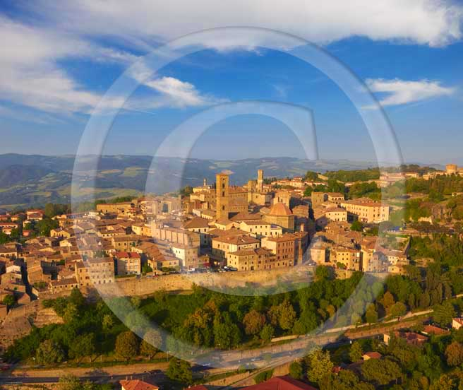 2009 - Aerial view of Volterra medieval village on late afternoon in springs, Era valley, 26 miles south east Pisa province.