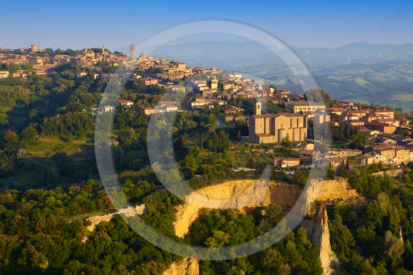 2009 - Aerial view of Volterra medieval village with