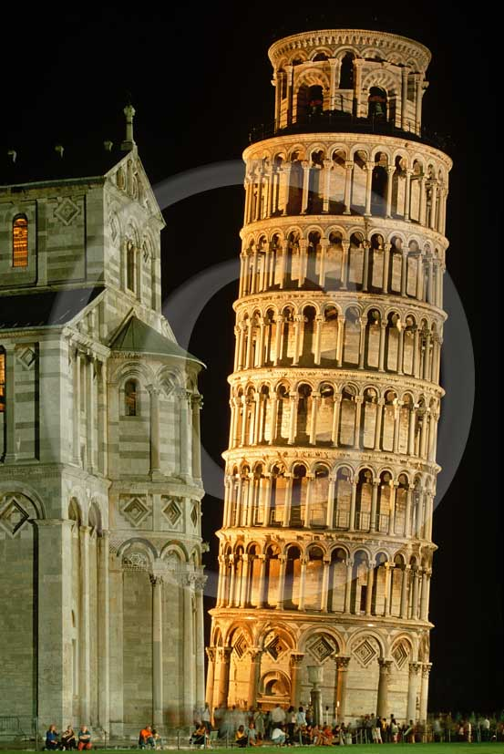 2006 - Night view of the Pisa's leaning tower, right, and the Cathedral, left.