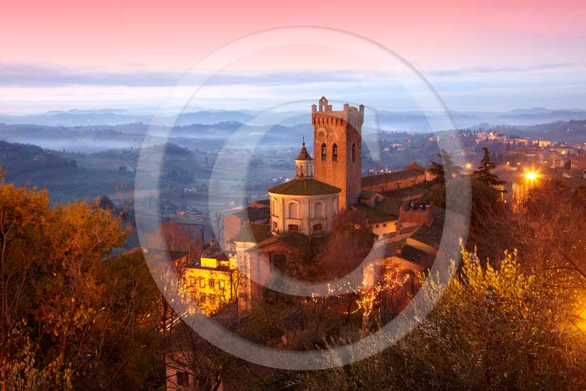 2009 -  A view of San Miniato village on sunrise with fog in winter, Era valley, 18 miles east the Pisa province.