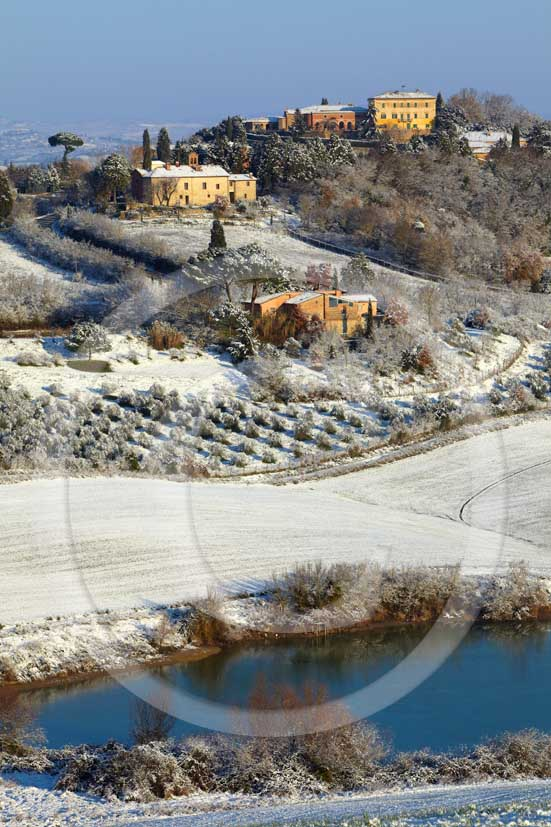 2009 - Landscapes of Radi village with snow in winter, near Ville di Corsano place, 13 miles south Siena province.
