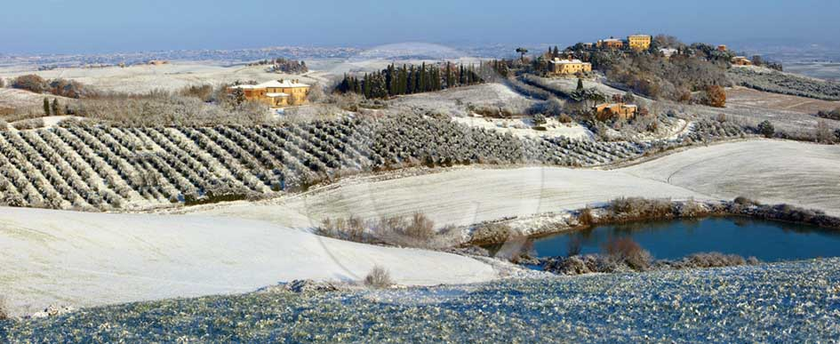 2009 - Panoramic of landscapes of Radi village with snow in winter, near Ville di Corsano place, 13 miles south Siena province.