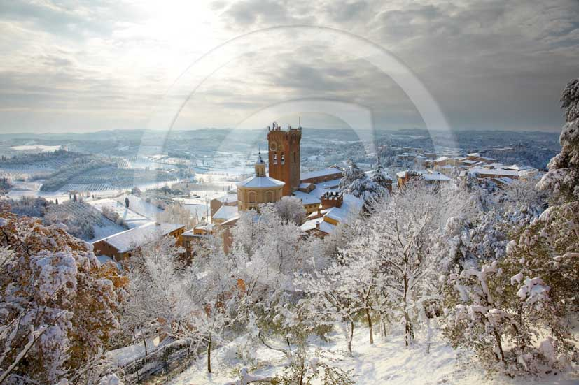 2009 - View of San Miniato village under the snow in winter on early morning, Era valley, 22 miles east Pisa province.