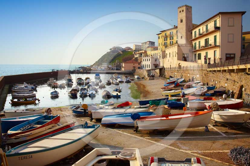 2001 - A view of the port of Piombino village with old fishers' boats, along Costa of Etruschi, Tirreno sea, 31 miles south Livorno province