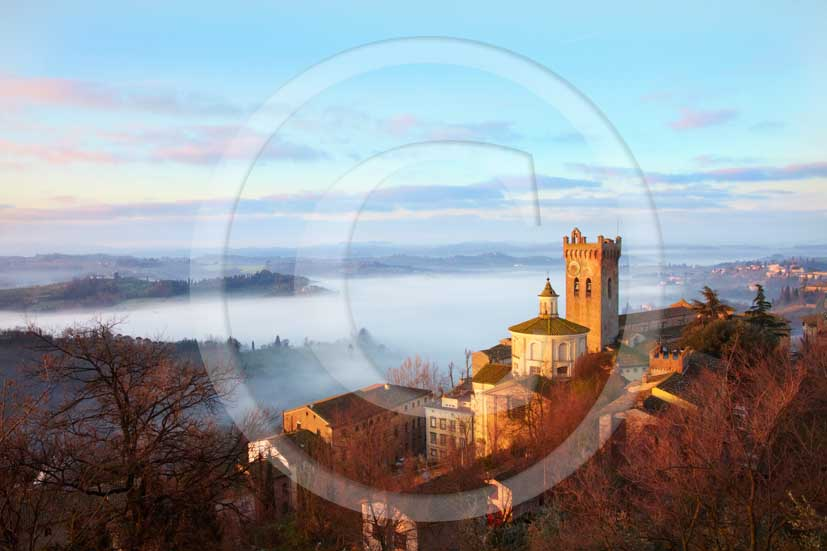2010 - A view of San Miniato village on sunrise with fog in spring, Era valley, 18 miles east the Pisa province.