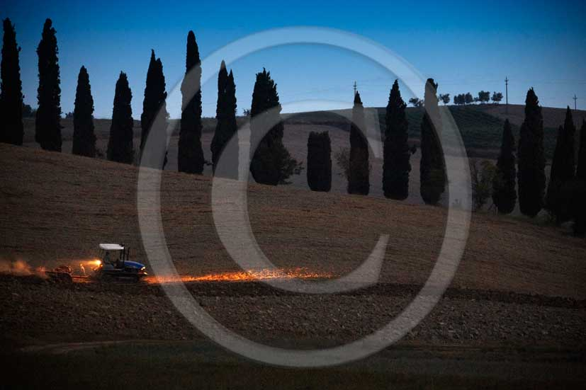2011 - Tractor work on sunrise field in Orcia valley near San Giovanni d'Asso village.