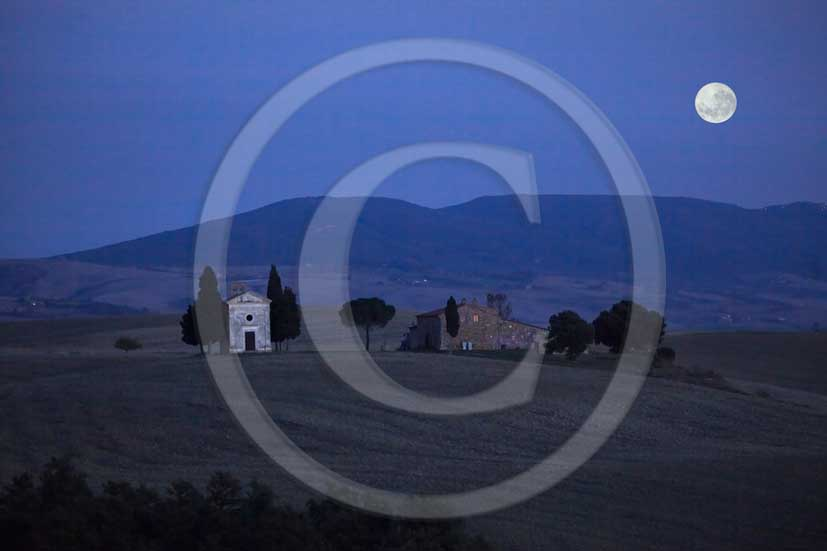 2011 - Night view with moon on country chapel of