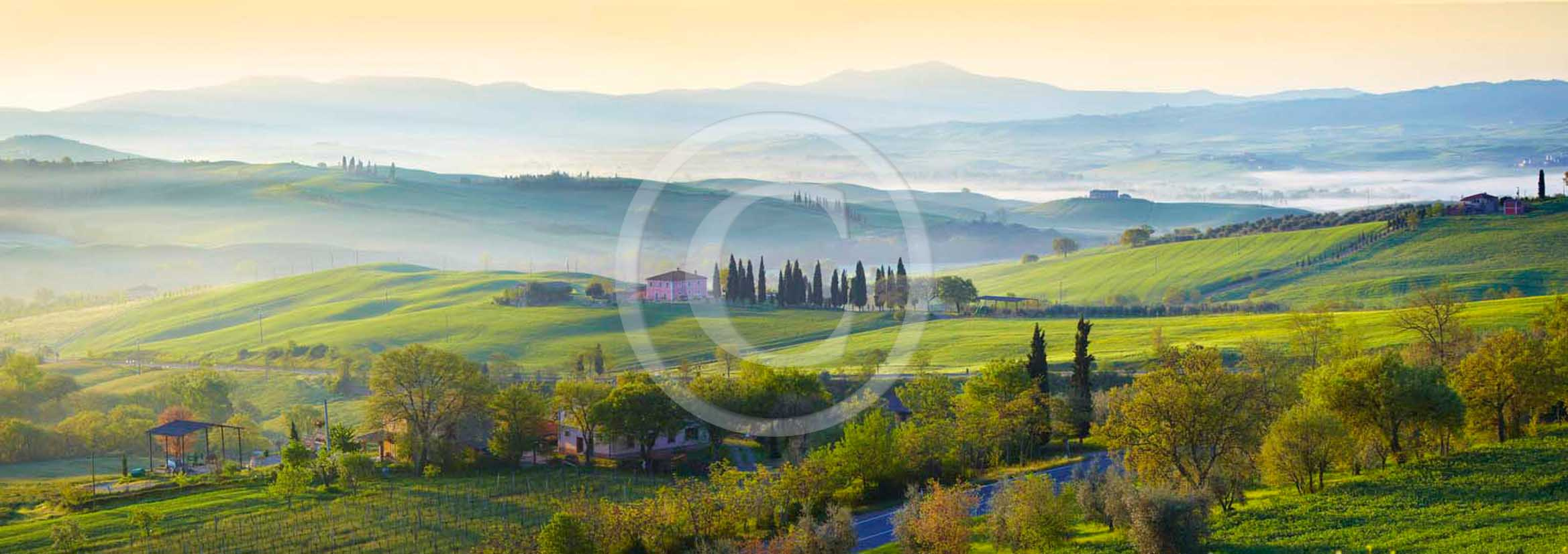 2011 - Panoramic view of cypress ans tuscan skyline with farm and cipress at sunrise in Orcia valley.
