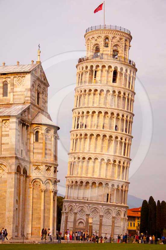 2011 - View of the leaning tower of Pisa town.