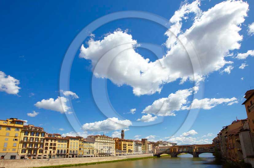2011 - View of palace and Ponte Vecchio bridge upon the Arno river of the town of Florence.