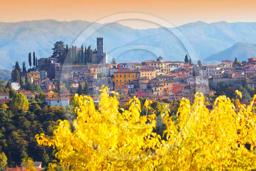 2011 - View of the village of Barga in autumn in Serchio valley.