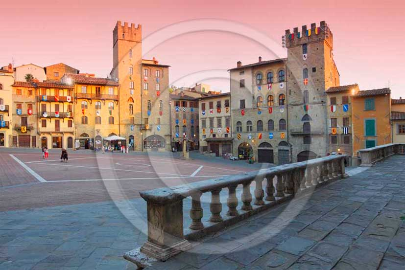 2011 - View of the main square and the buildings in Piazza Grande of the town of Arezzo.