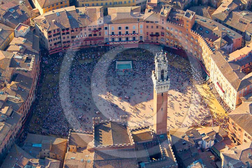 2011 - Aerial view of the main square Il Campo of Siena town.