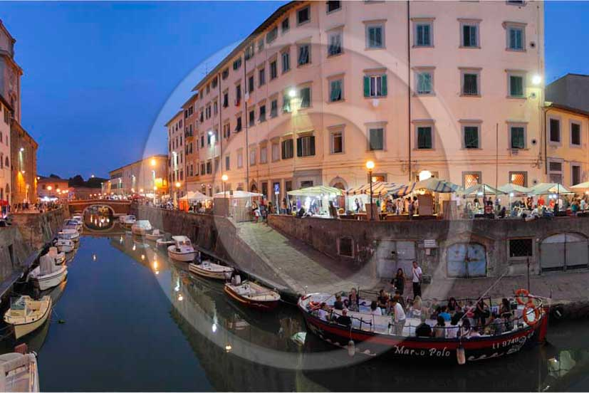 2011 - Night view of the canal and buildings of Livorno town.